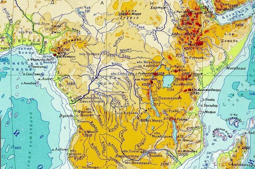 Река Конго на карте Африки