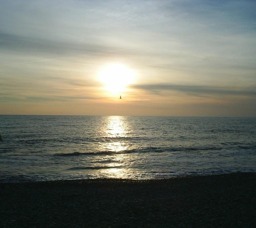 Закат на Черном море в январе