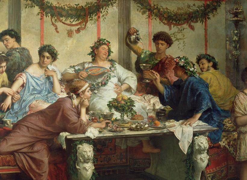 Картина «Римский пир». Художник Роберто Бомпиани. 1875 г.