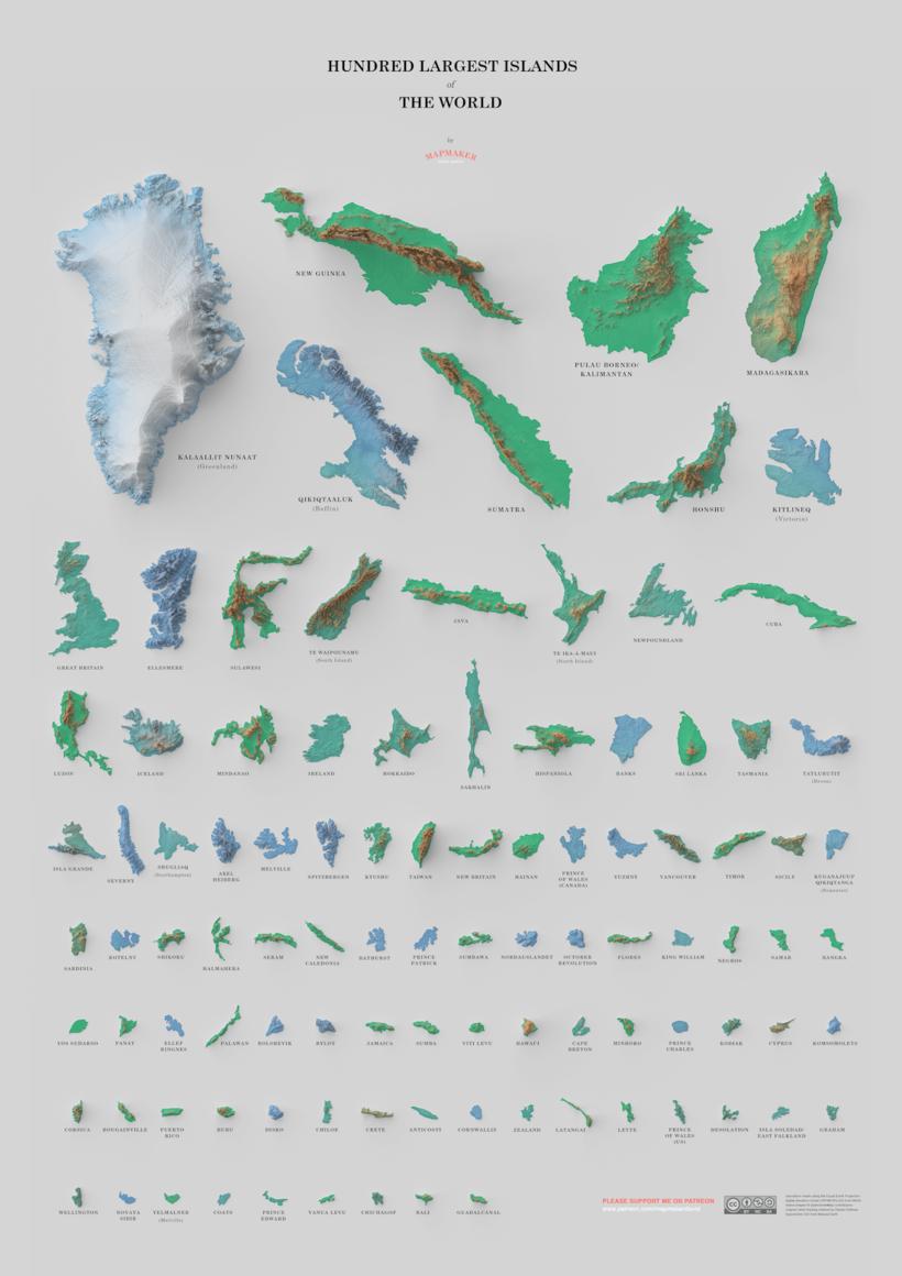 Картограф сравнил 100 самых больших островов планеты на одном удивительном постере
