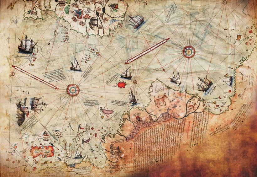 Фрагмент карты Пири Рейса