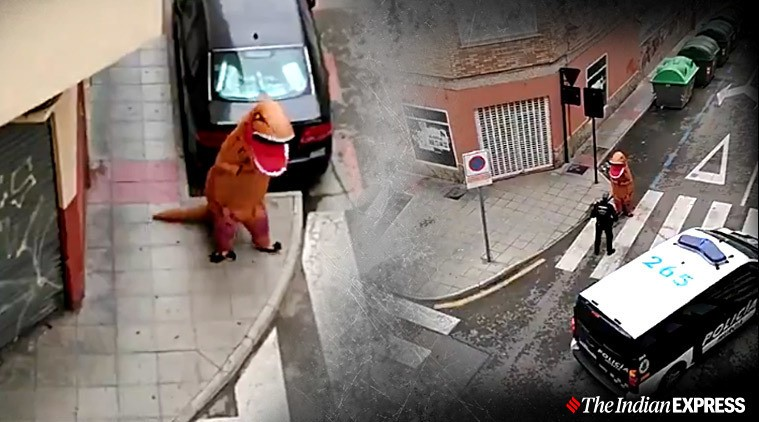 В Испании на видео попал тираннозавр, который нарушил карантин и отправился гулять