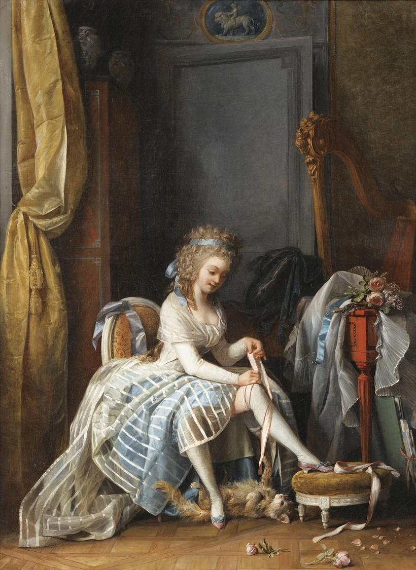 Девушка подвязывает чулки на картине шведского художника XVIII века Никласа Лафренсена