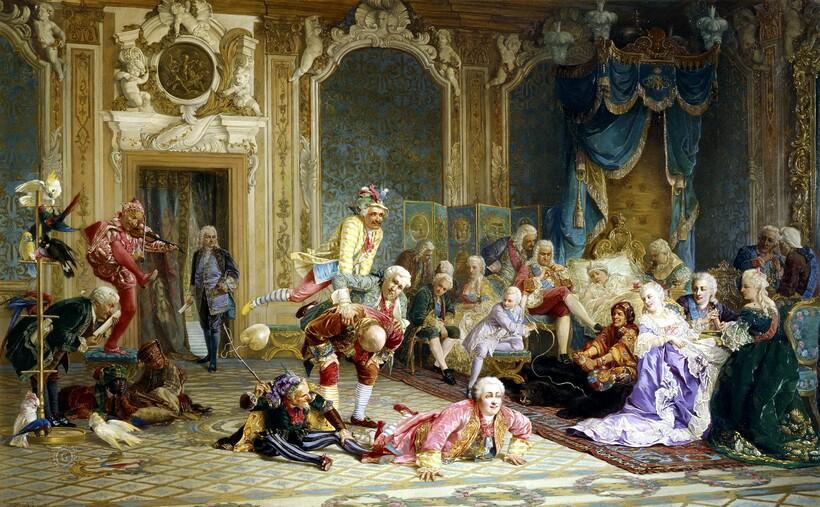 «Шуты при дворе императрицы Анны Иоанновны»,1872 г. В. И. Якоби