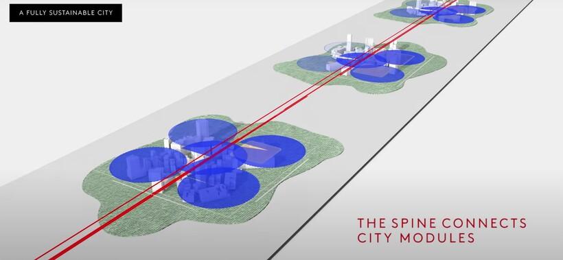 Красным отмечены подземные коммуникации пассажиров и транспорта