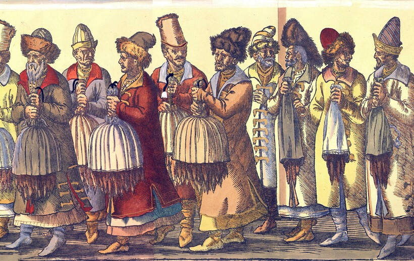 Русское посольство (гравюра 1576 г.). Поднесение даров русским посольством императору Максимилиану II