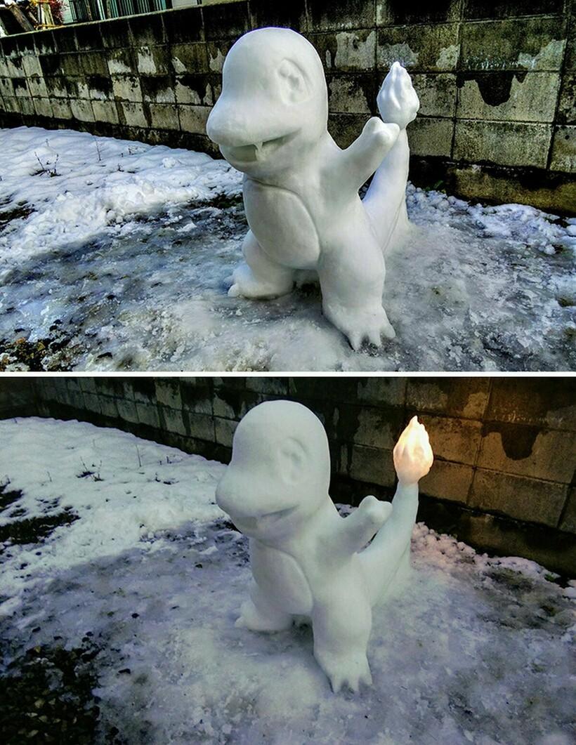 17 фото самых очаровательных снеговиков, которых делает японец на улицах своего города