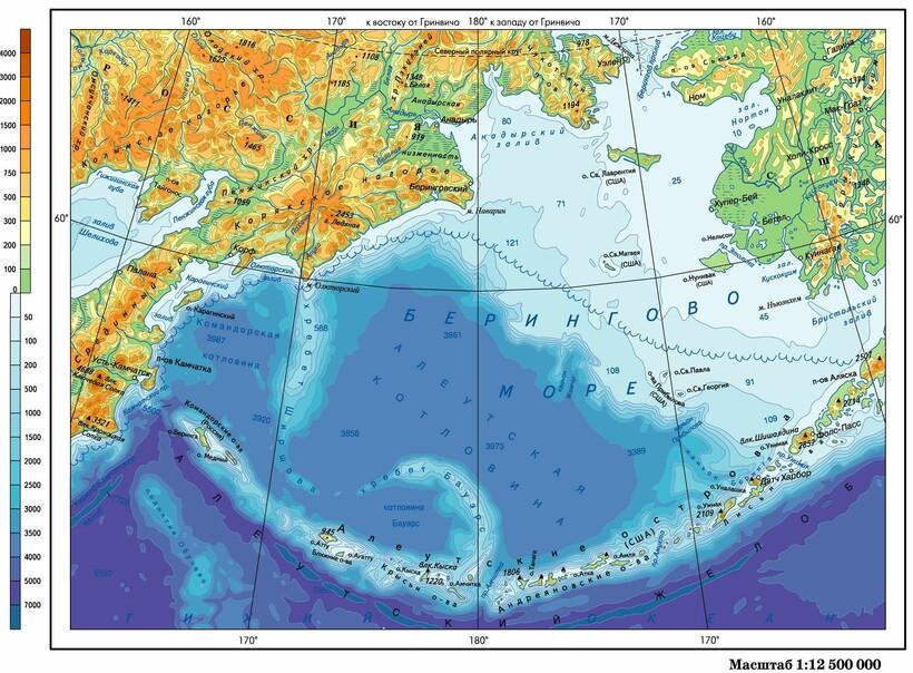 Расположение Берингова моря