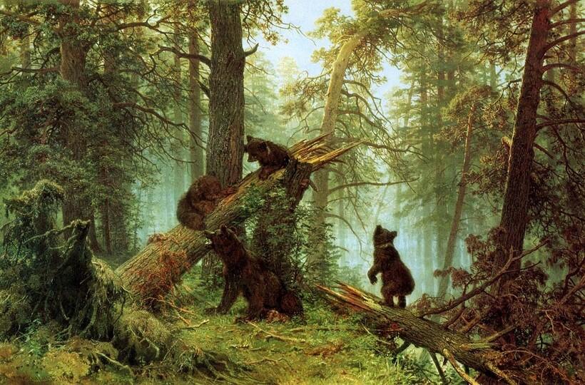 «Утро в сосновом лесу», 1889 г. И. И. Шишкин, К. А. Савицкий