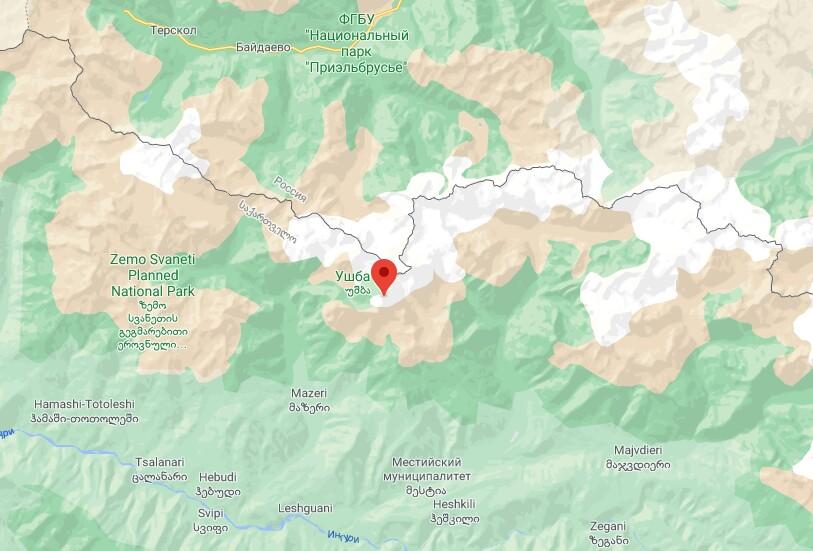 Гора Ушба на карте